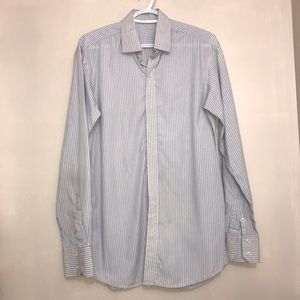 🧩Blue & White Striped Long Sleeve Buttoned Shirt
